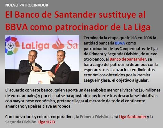 noticia Banco Santander patrocinador de LaLiga