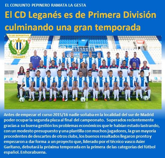 noticia CD Leganes es de Primera Division