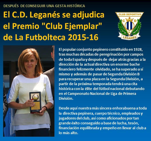 noticia CD Leganes se adjudica Premio Club Ejemplar