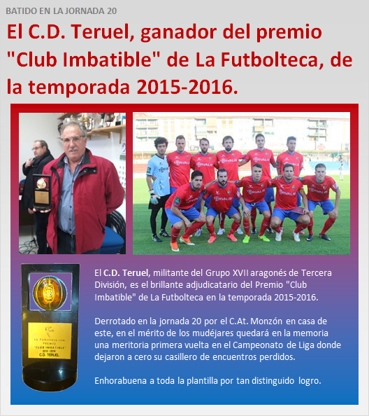 CD Teruel ganador Premio Club Imbatible 15-16
