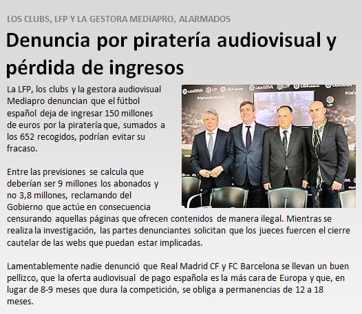 Denuncia por pirateria audiovisual