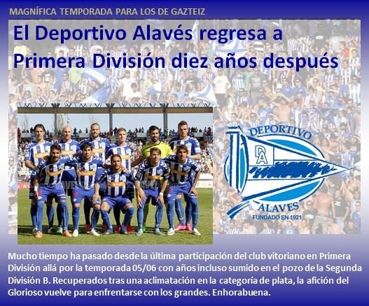 noticias Deportivo Alaves regresa a Primera Division