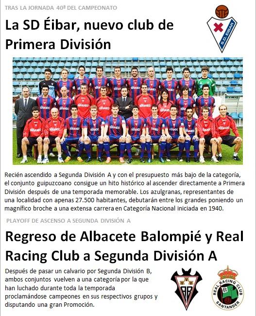 Eibar nuevo club de Primera Division