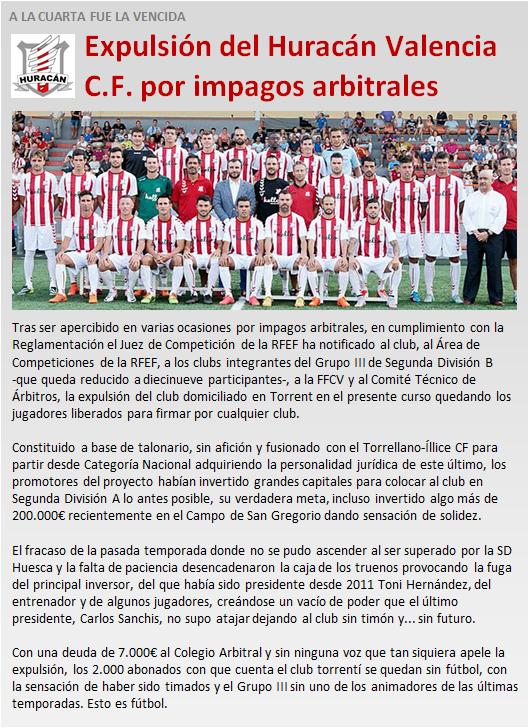 noticia expulsion Huracan Valencia CF por impagos arbitrales