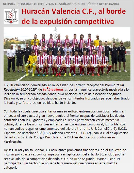 noticia Huracan CF al borde de la expulsion competitiva