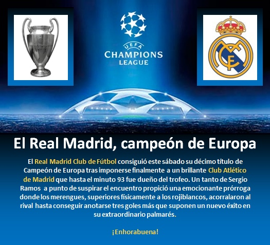 Real Madrid Campeon Copa Europa