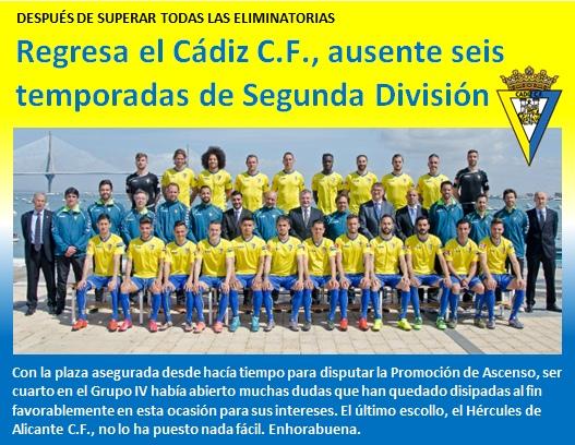 noticia Regresa el Cadiz CF ausente seis temporadas de Segunda