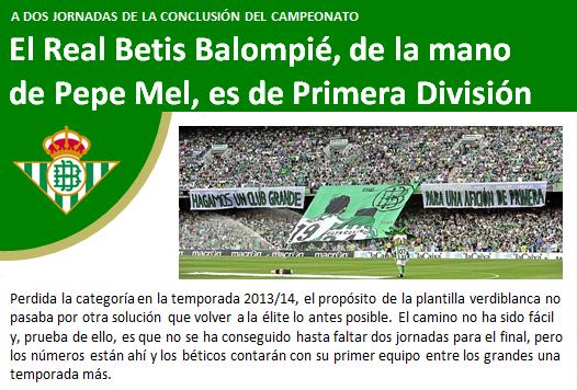 noticia Real Betis es de Primera
