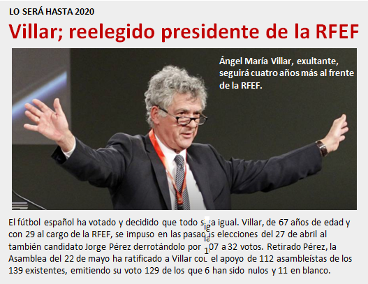 noticia Villar reelegido presidente RFEF