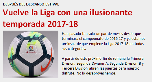 noticia Vuelve la Liga temporada 2017-2018