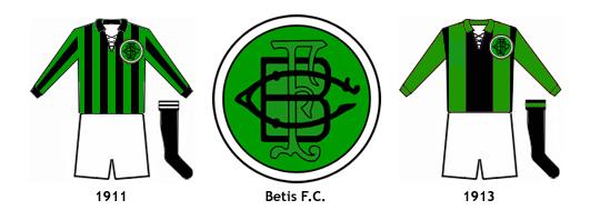 escudo y uniformes Betis FC 1910