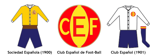 escudo y uniforme Club Espanol de Football