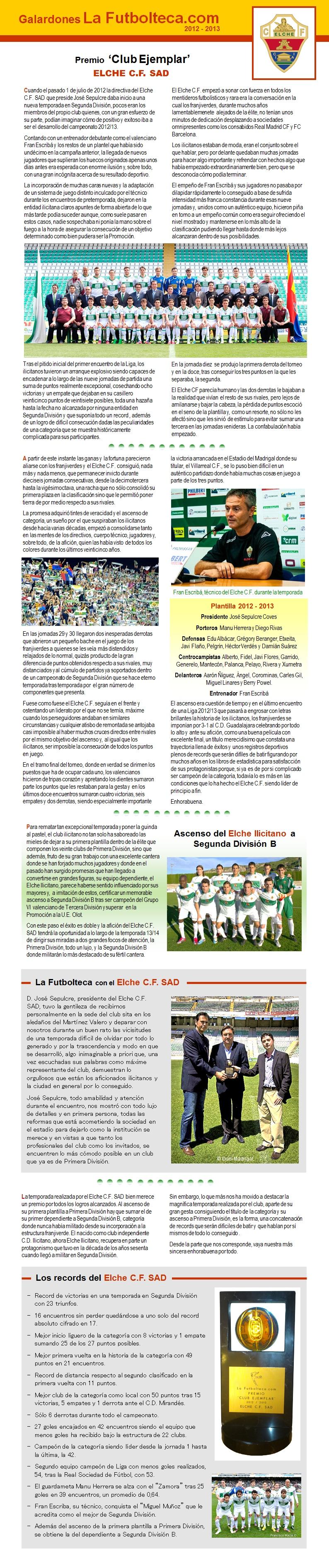 Premio Club Ejemplar 2013 Elche CF