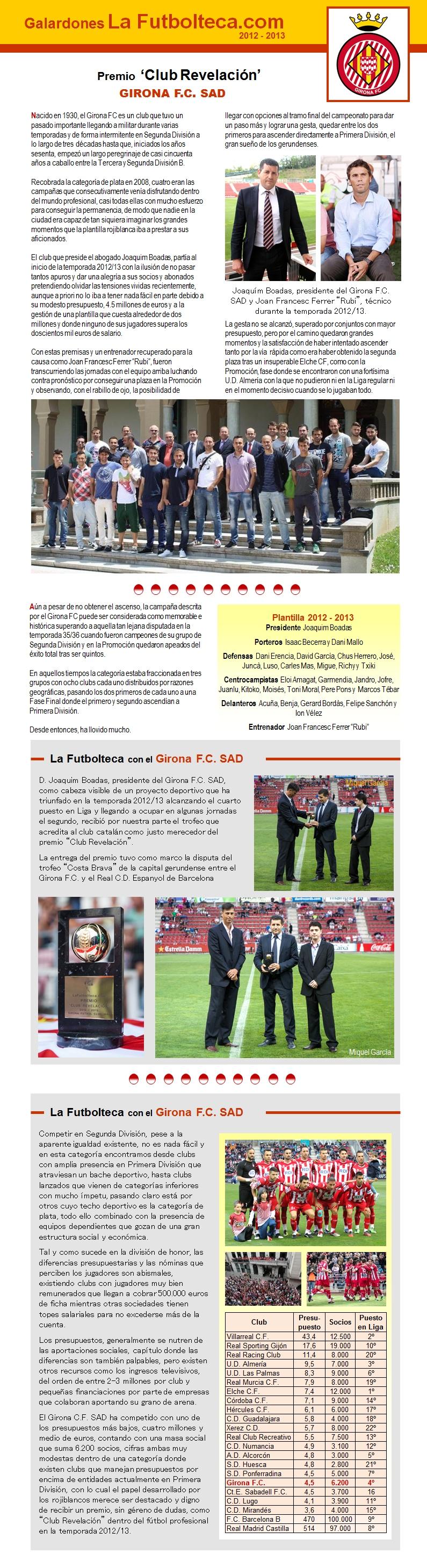 Premio Club Revelacion 2013 Girona FC