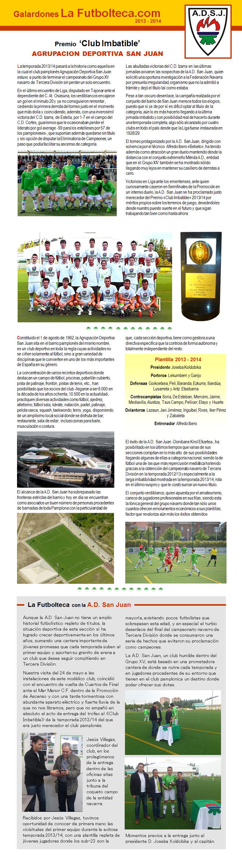 Premio Club Imbatible La Futbolteca 2014