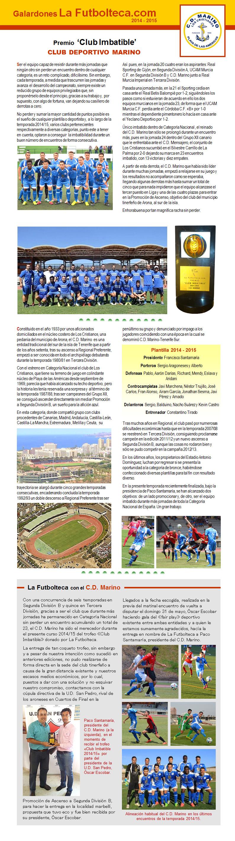 Premio Club Imbatible La Futbolteca 2015
