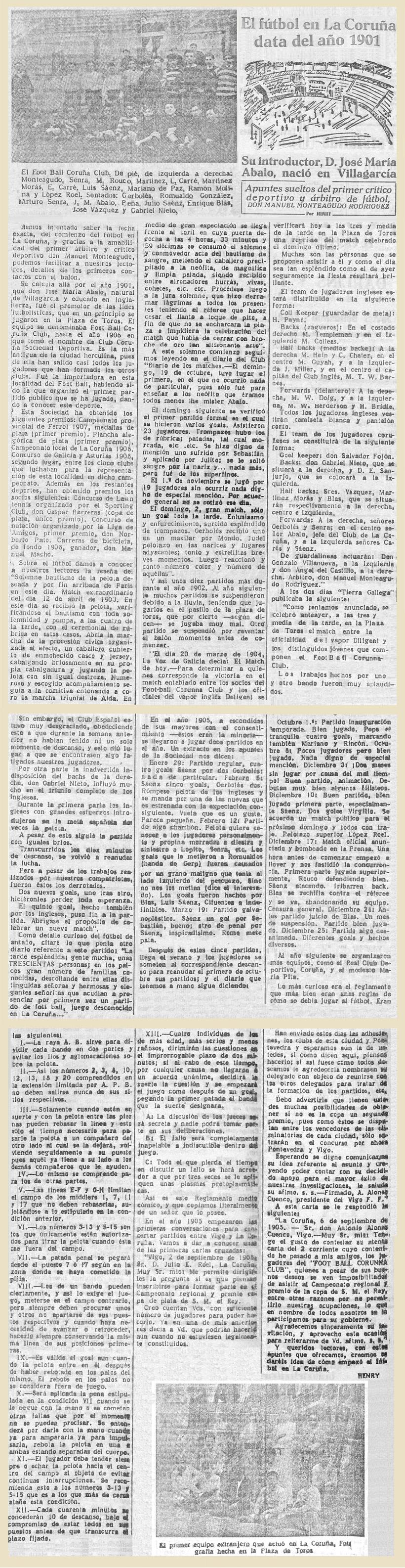 Origen del futbol en La Coruña 1901