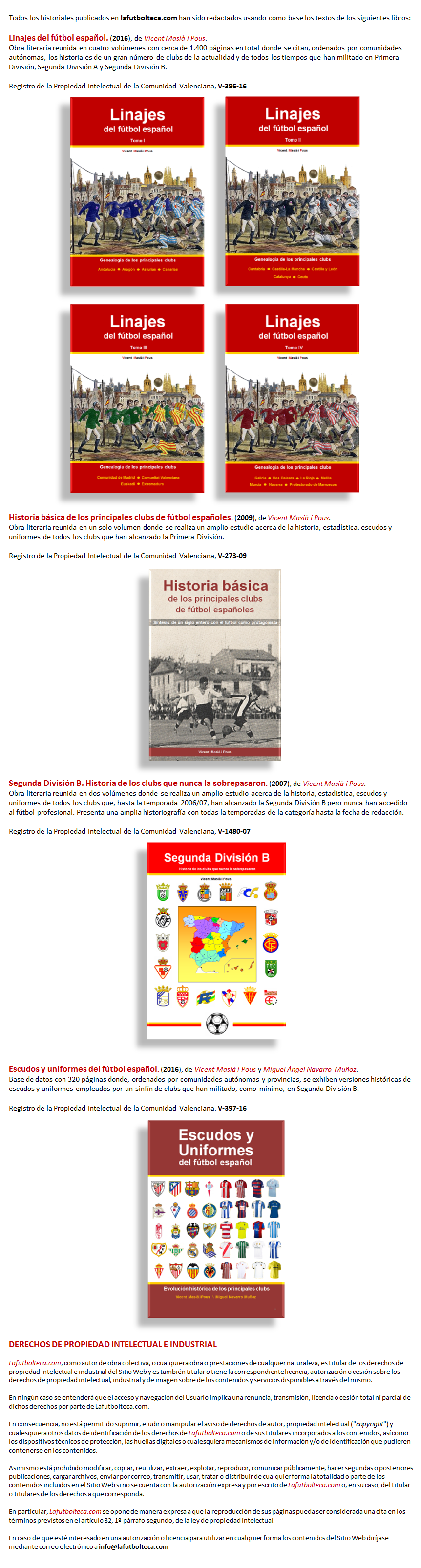 Derechos de autor y Propiedad Intelectual LaFutbolteca.com