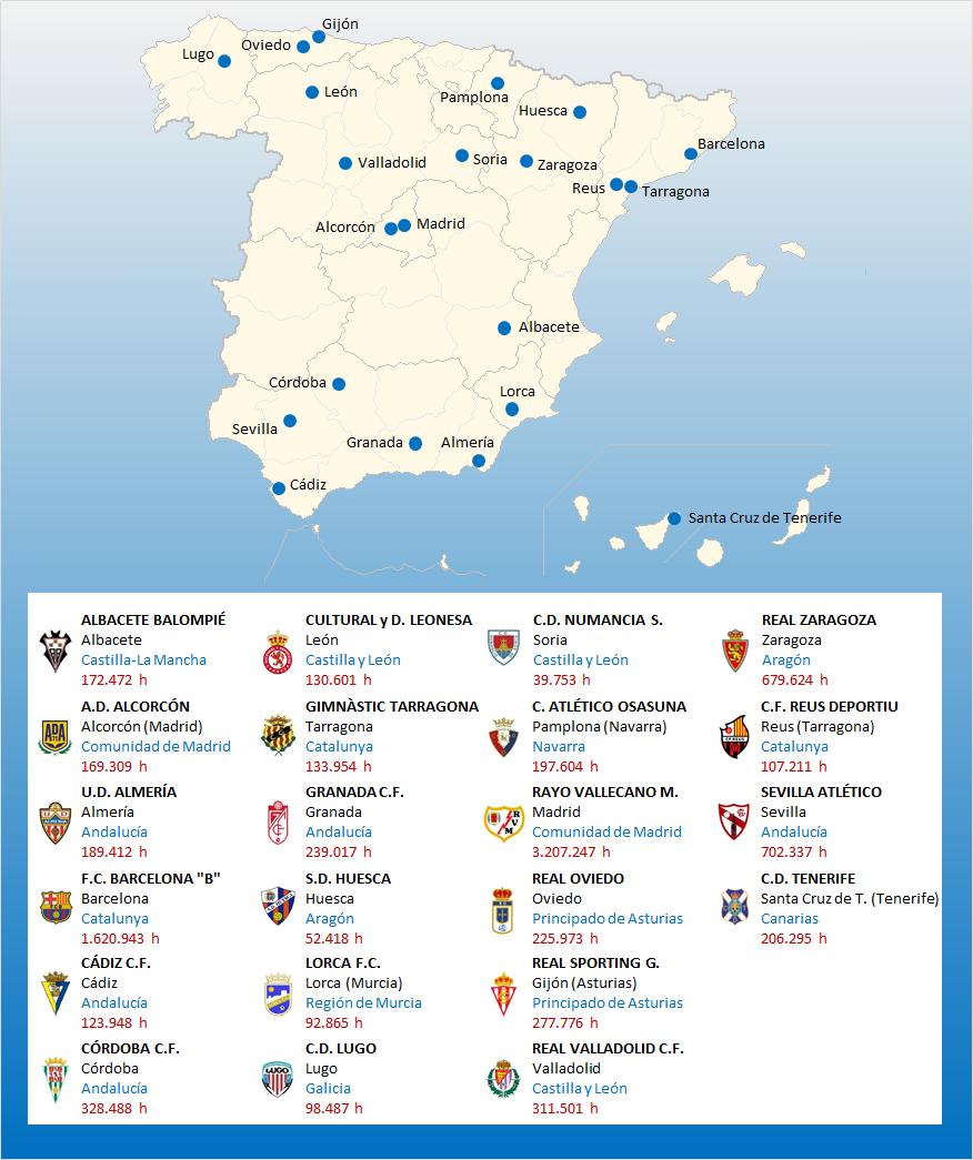 mapa localizacion segunda division a 2016-2017
