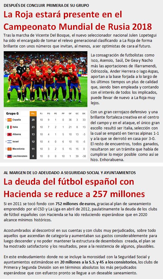 La Roja estará presente en el Mundial 2018 / La deuda del fútbol con Hacienda se reduce