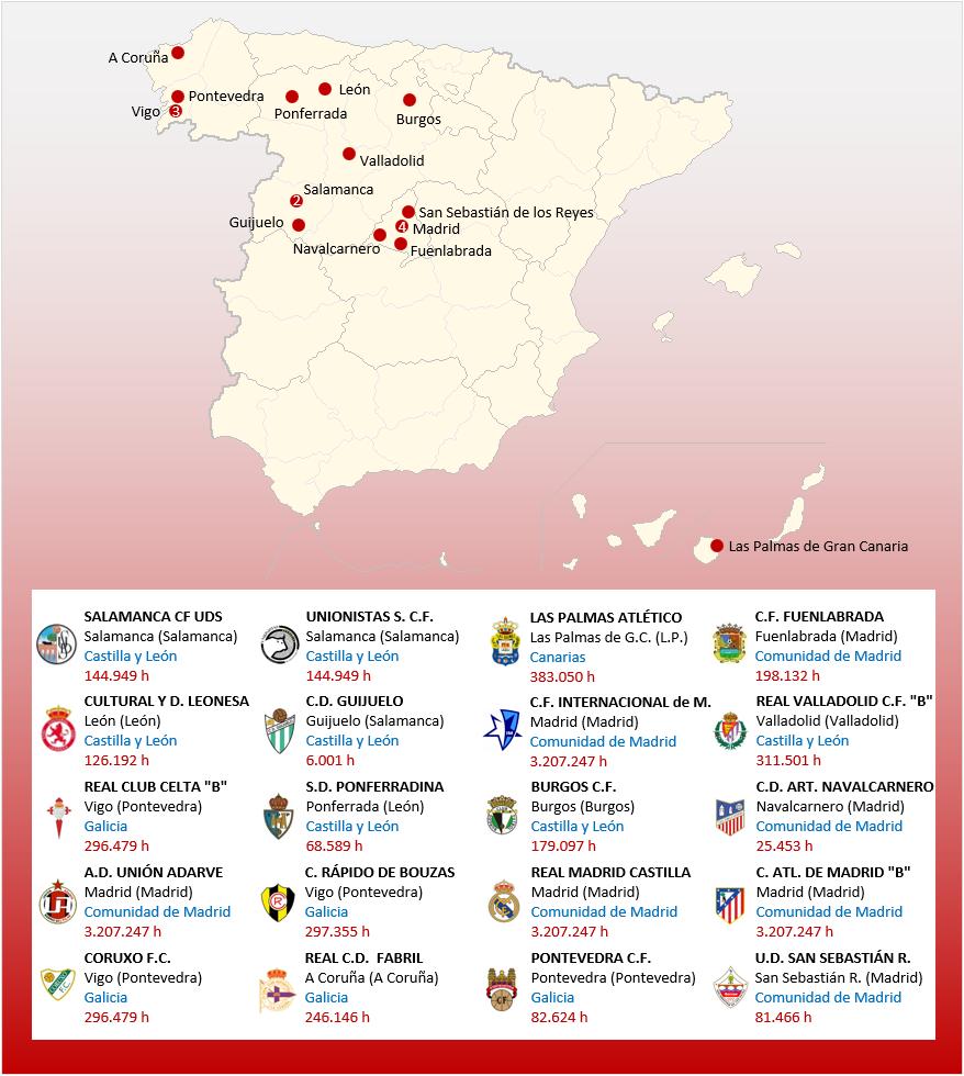 Mapa Localizacion Segunda Division B Grupo 1 2018-2019