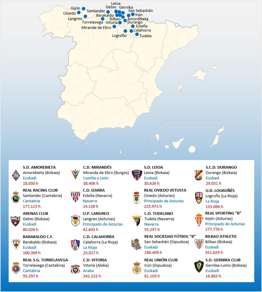 Mapa Localizacion Segunda Division B Grupo 2 2018-2019