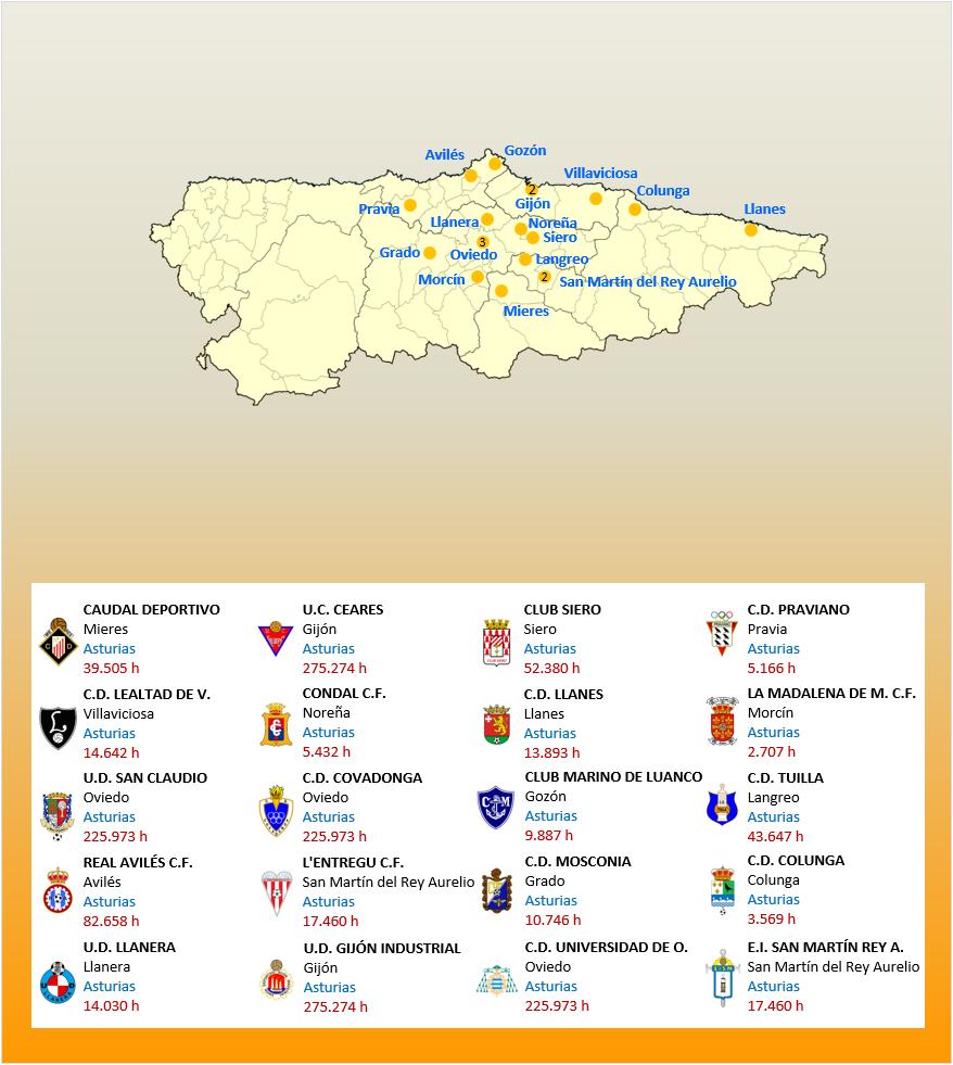 Mapa Localizacion Tercera Division Grupo II 2018-2019 Asturias