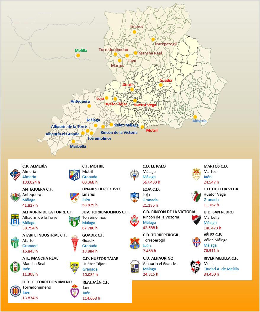 Mapa Localizacion Tercera Division Grupo IX 2018-2019 Andalucia-Melilla