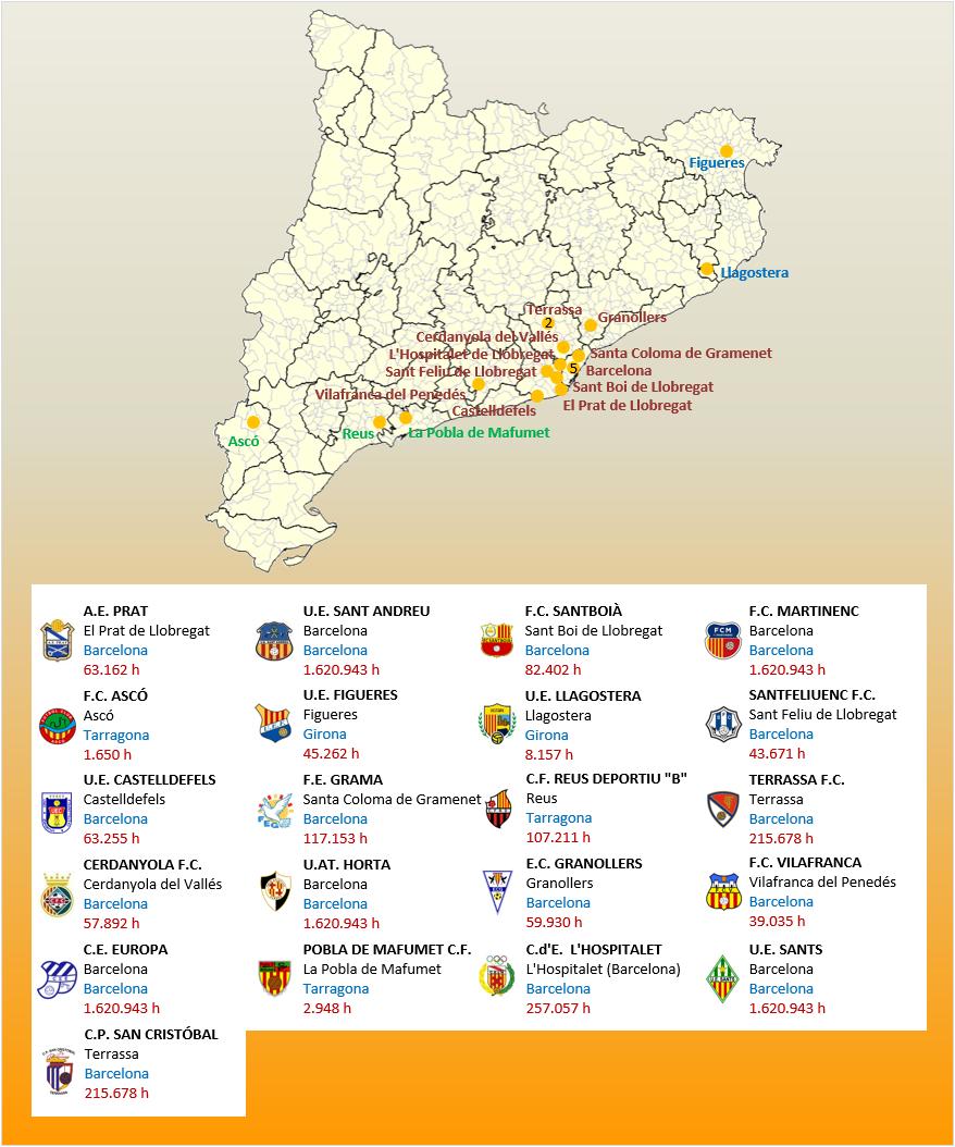 Mapa Localizacion Tercera Division Grupo V 2018-2019 Catalunya