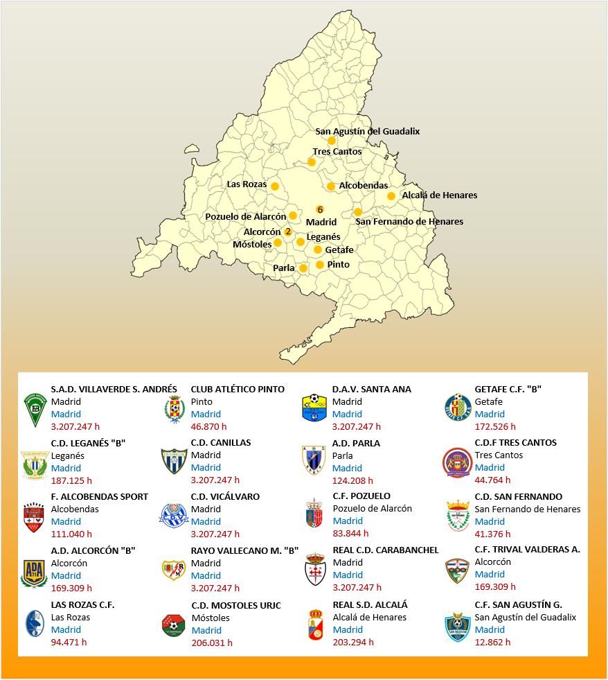 Mapa Localizacion Tercera Division Grupo VII 2018-2019 Madrid
