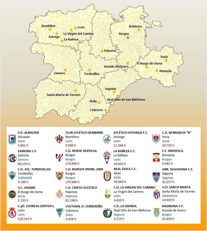 Mapa Localizacion Tercera Division Grupo VIII 2018-2019 Castilla-Leon