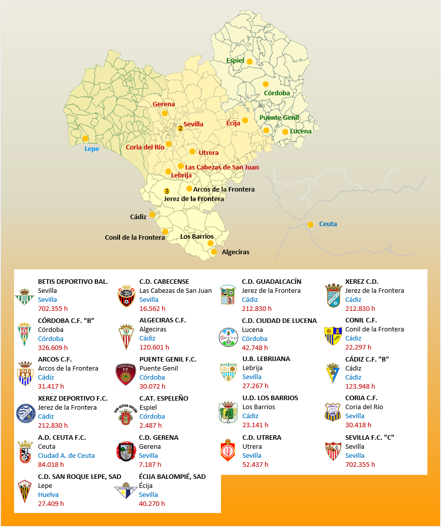 Mapa Localizacion Tercera Division Grupo X 2018-2019 Andalucia-Ceuta