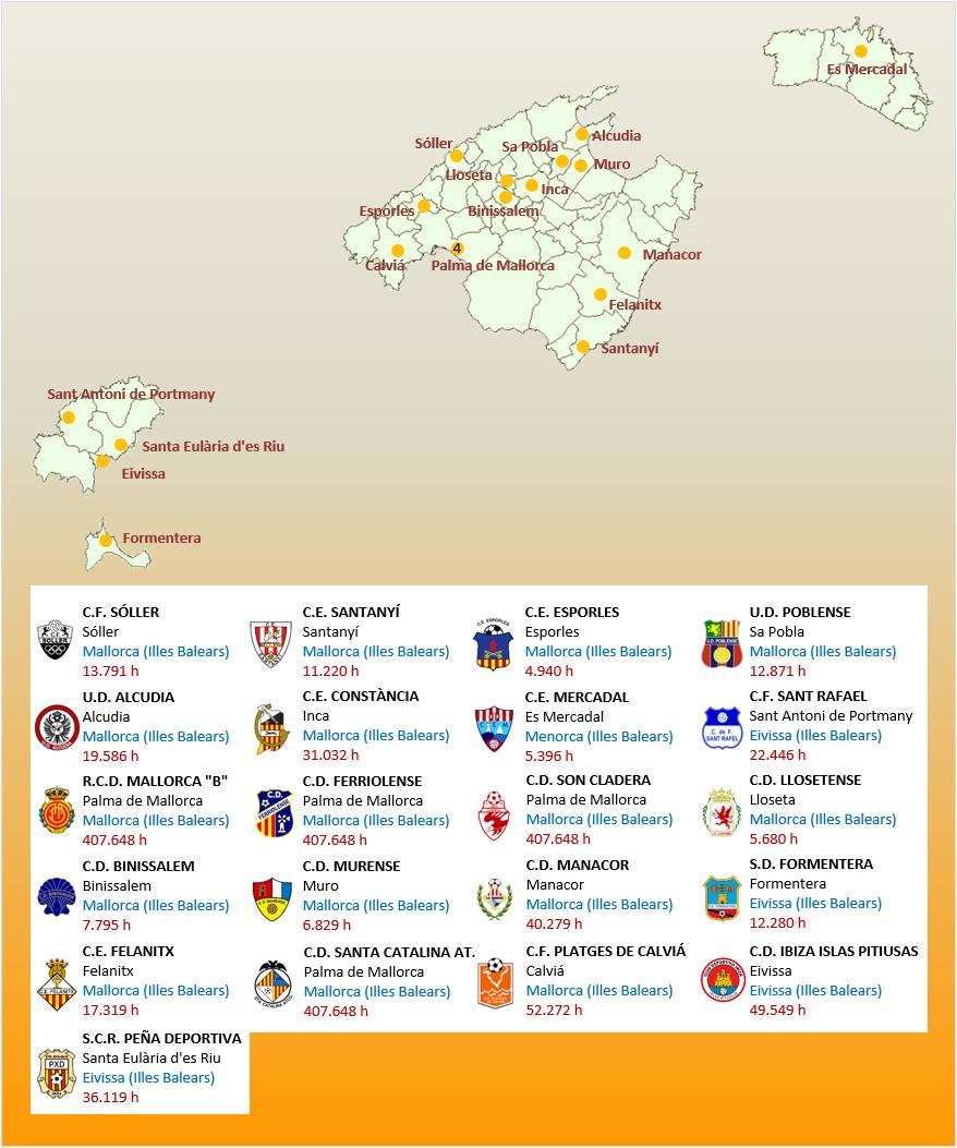 Mapa Localizacion Tercera Division Grupo XI 2018-2019 Baleares