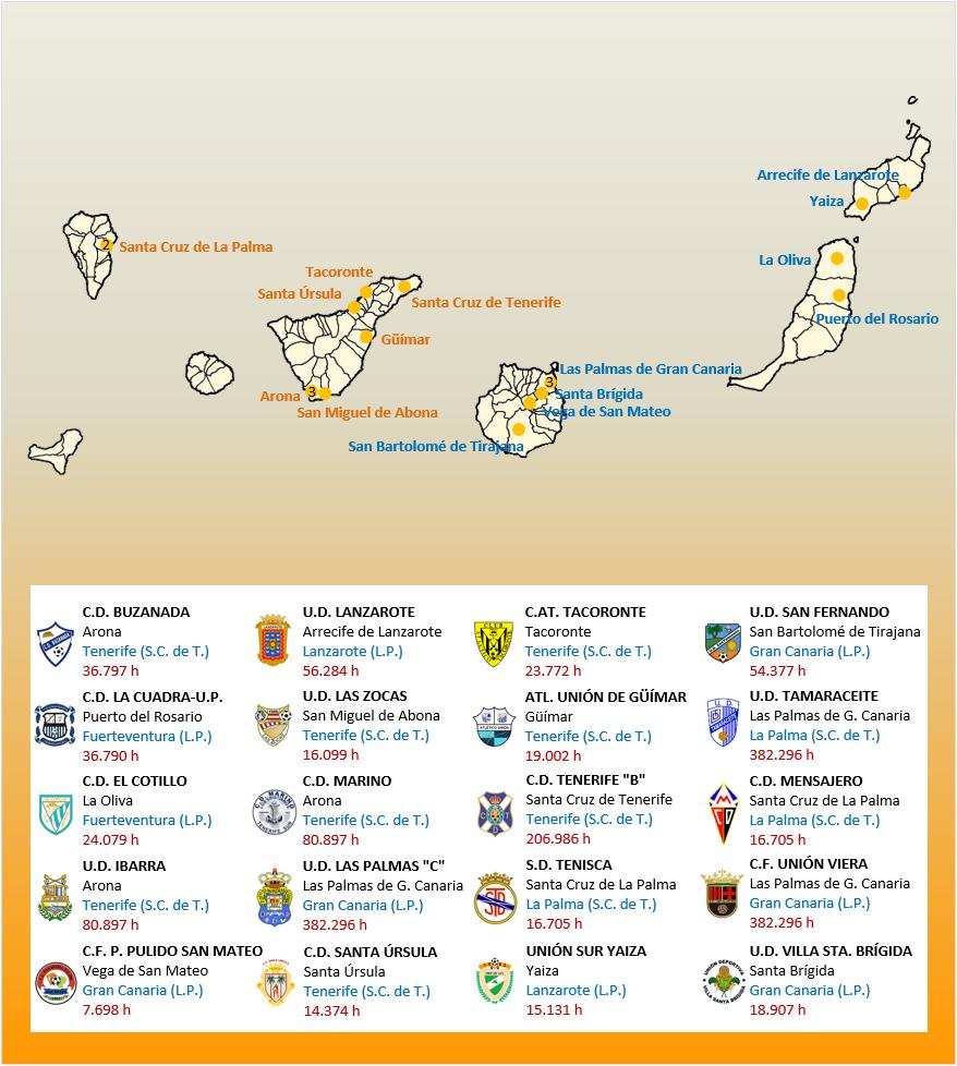 Mapa Localizacion Tercera Division Grupo XII 2018-2019 Canarias
