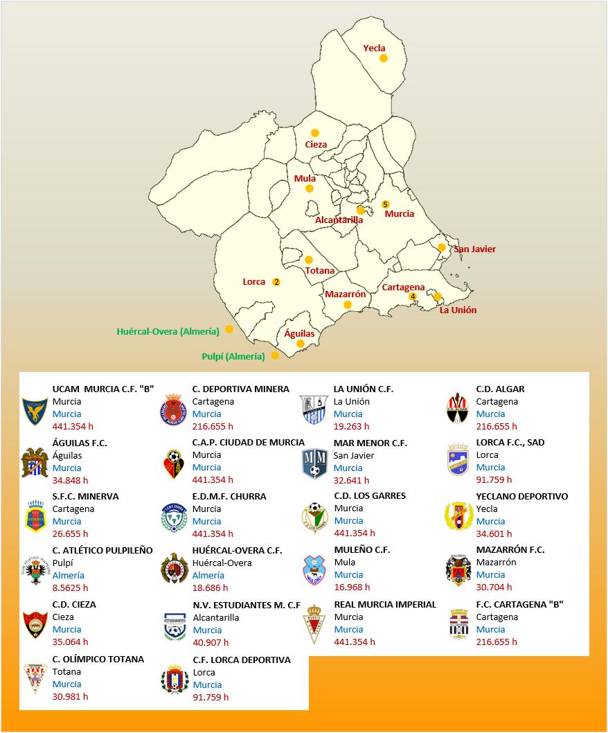 Mapa Localizacion Tercera Division Grupo XIII 2018-2019 Murcia