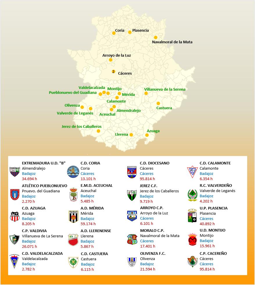 Mapa Localizacion Tercera Division Grupo XIV 2018-2019 Extremadura