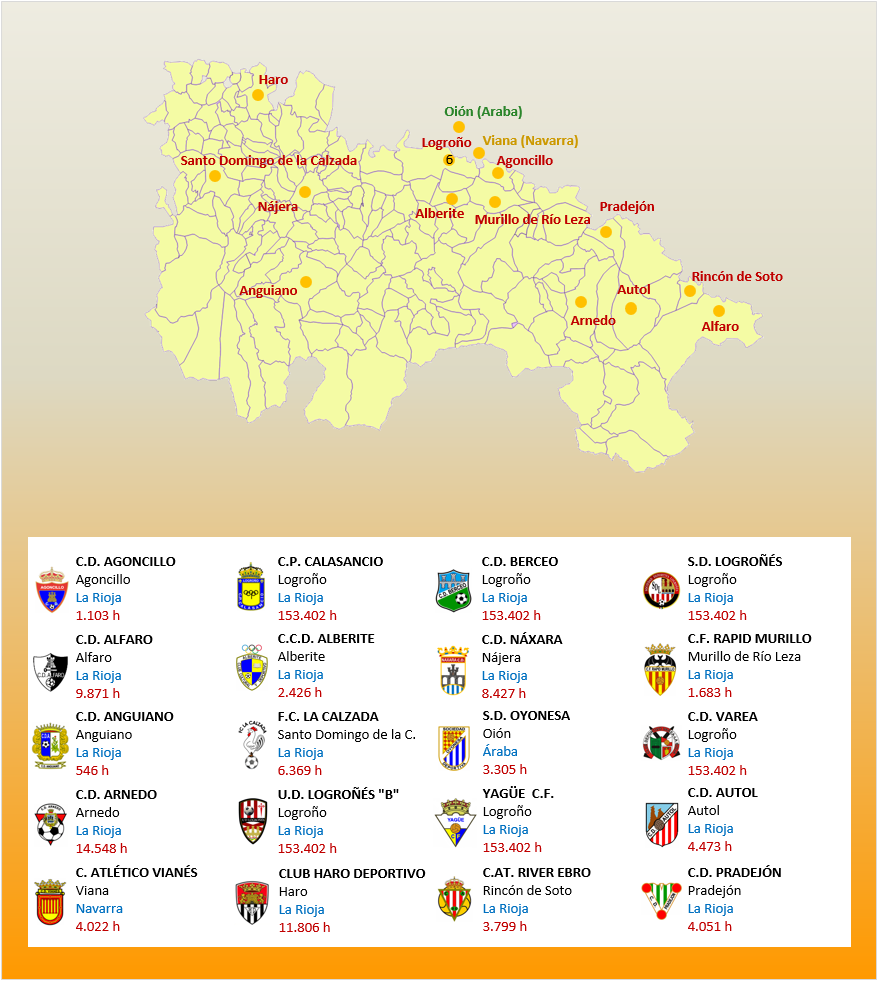 Mapa Localizacion Tercera Division Grupo XVI 2018-2019 La Rioja