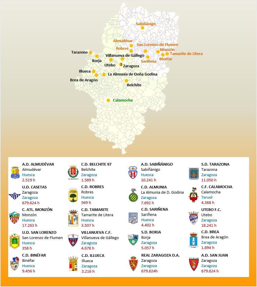 Mapa Localizacion Tercera Division Grupo XVII 2018-2019 Aragon