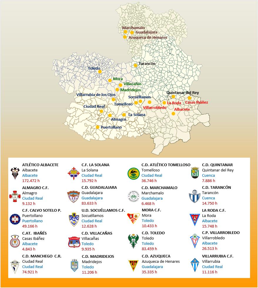 Mapa Localizacion Tercera Division Grupo XVIII 2018-2019 Castilla La Mancha