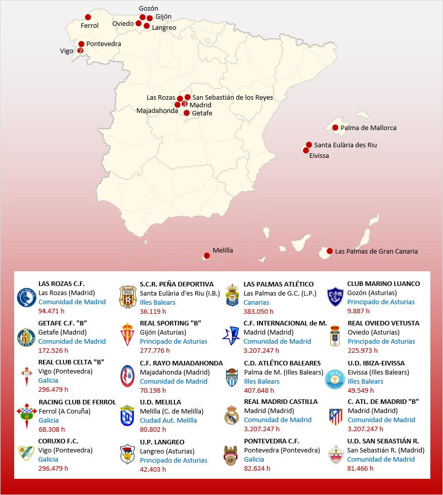 Mapa Localizacion Segunda Division B Grupo 1 2019-2020