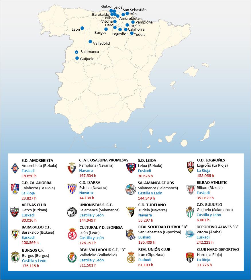 Mapa Localizacion Segunda Division B Grupo 2 2019-2020