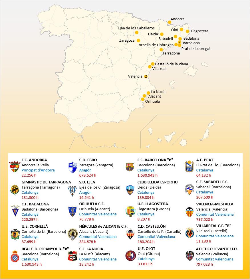Mapa Localizacion Segunda Division B Grupo 3 2019-2020
