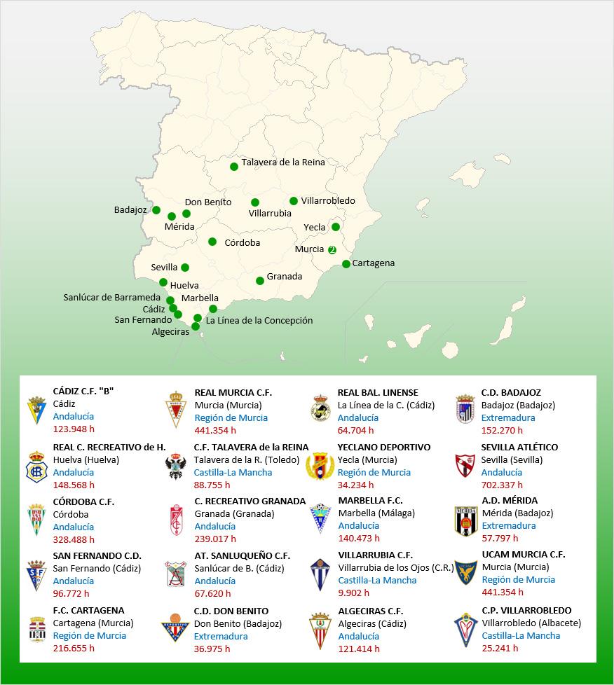 Mapa Localizacion Segunda Division B Grupo 4 2019-2020