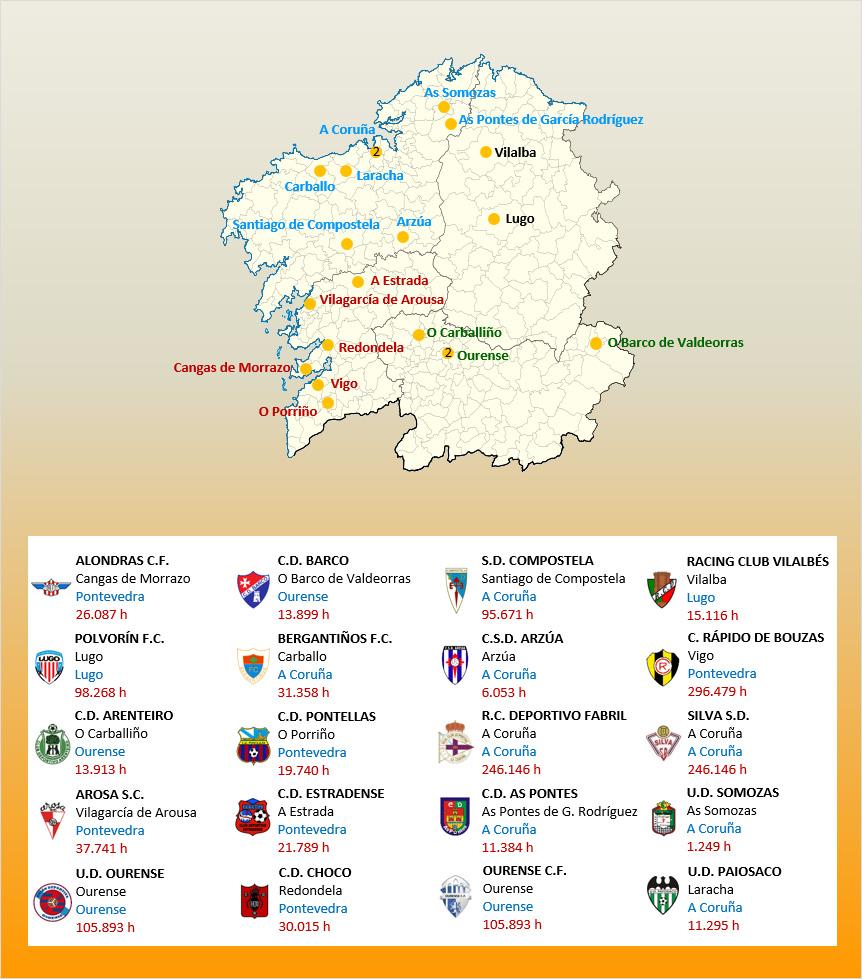 Mapa Localizacion Tercera Division Grupo I 2019-2020 Galicia