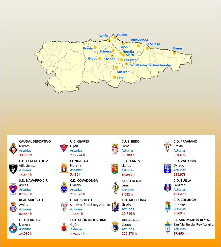 Mapa Localizacion Tercera Division Grupo II 2019-2020 Asturias