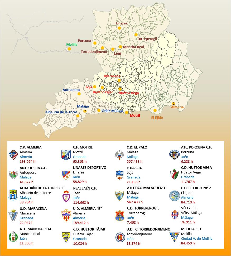 Mapa Localizacion Tercera Division Grupo IX 2019-2020 Andalucia-Melilla
