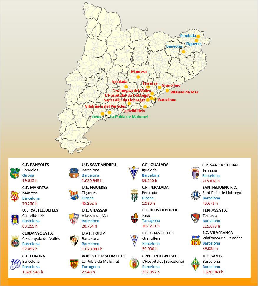 Mapa Localizacion Tercera Division Grupo V 2019-2020 Catalunya