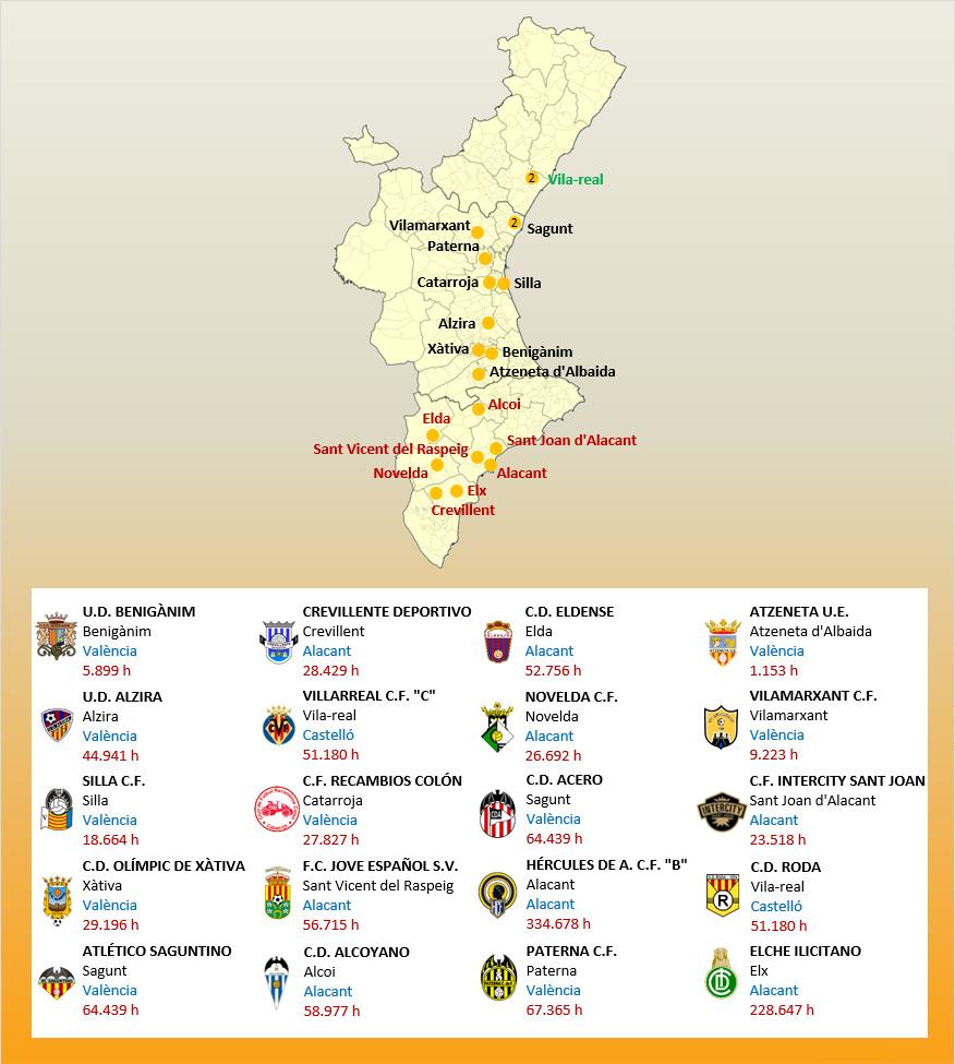 Mapa Localizacion Tercera Division Grupo VI 2019-2020 Comunitat Valenciana