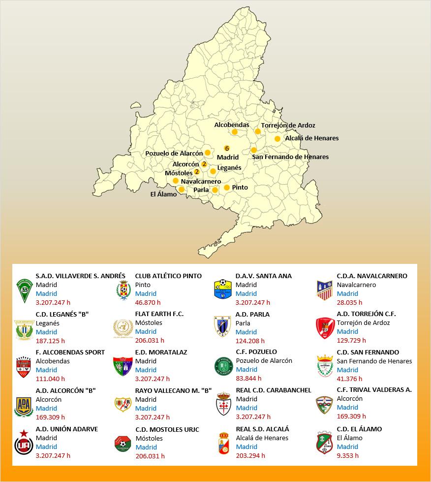 Mapa Localizacion Tercera Division Grupo VII 2019-2020 Madrid
