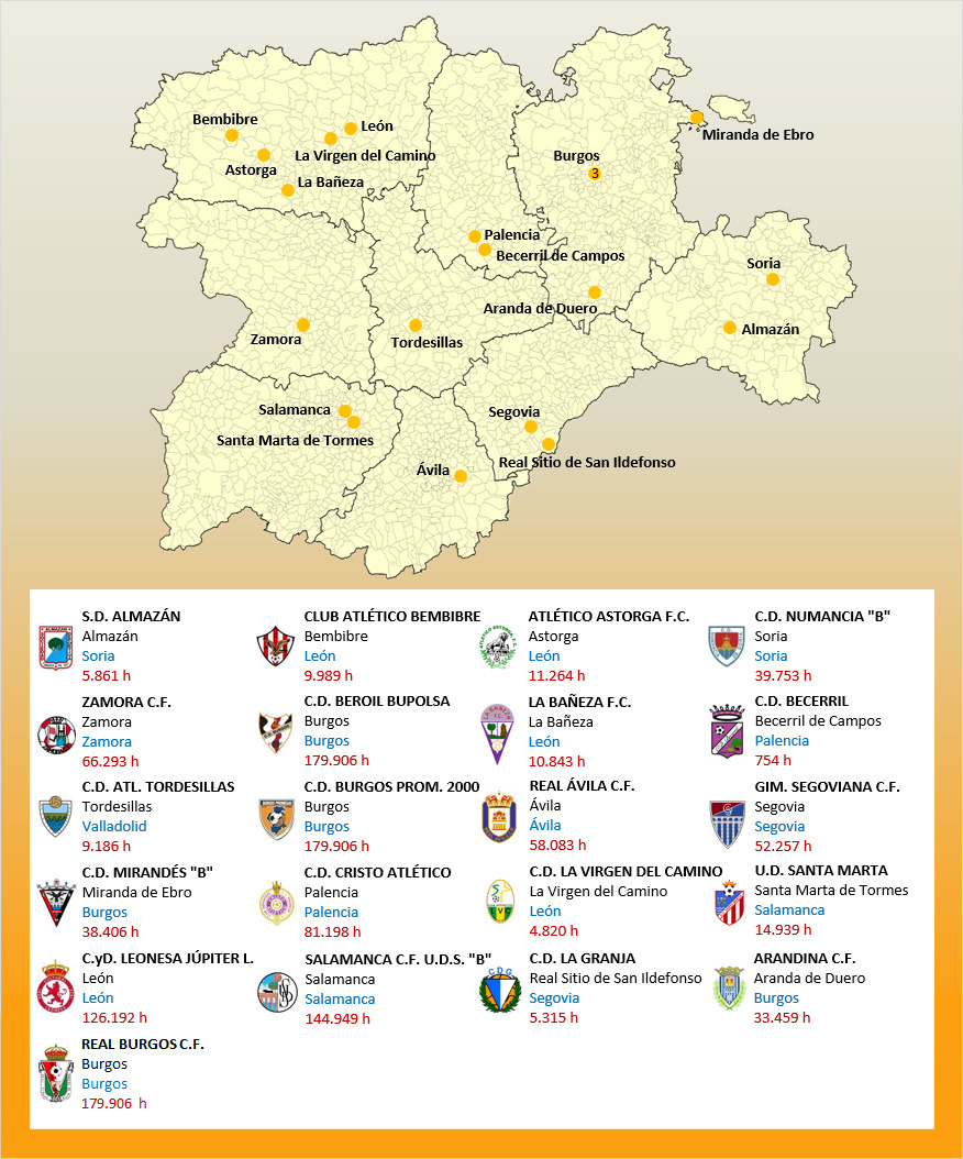 Mapa Localizacion Tercera Division Grupo VIII 2019-2020 Castilla-Leon